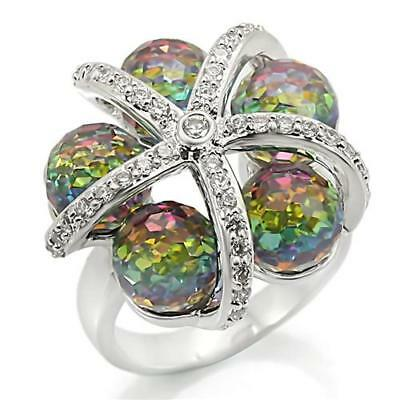 Womens RP brass Multicolored crystal ball mothers day Ring  5,7,9,10  free ship