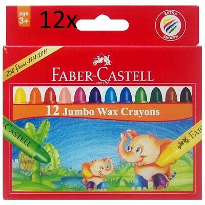 12x packs of brand new Faber-Castell Jumbo Crayons 12 Pack ( total 144 PCS )