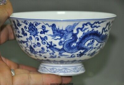 Marked Old China blue White porcelain Dragon phoenix Dynasty palace Tea cup Bowl