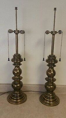 """Pair of Mid-Century Vintage Stiffel 2-Light Brass Plated Table Lamps 36"""" Tall"""