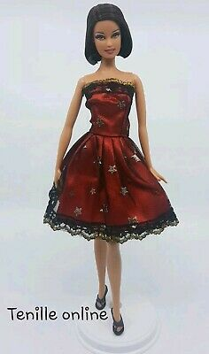 New Barbie doll clothes outfit summer party red pretty dress stars short