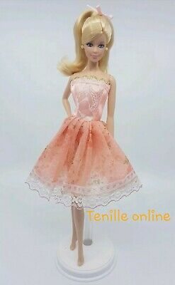 New Barbie doll clothes outfit summer party peach pretty dress cocktail short