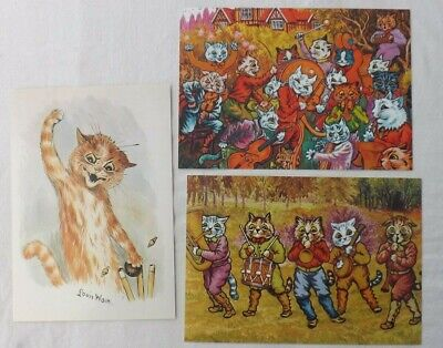 Three Louis Wain Chris Beetles 2010,2011,1995 Summer Cat Art Exhibition Invites