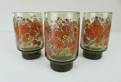 Three Vintage Orange/Yellow Floral Pattern Glass Tumblers/Glasses