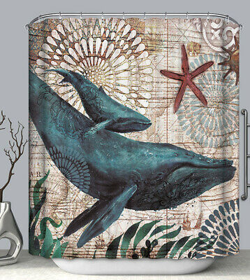 Whale Nautical Shells Design Fabric SHOWER CURTAIN 70x70 w/Hooks
