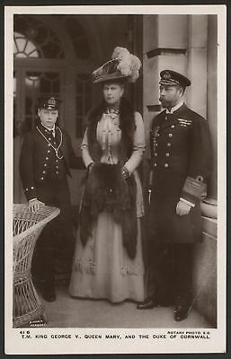 King George V, Queen Mary & the Duke of Cornwall - Vintage Rotary Photo Postcard