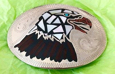 Vtg Johnson Held Bald Eagle Turquoise Coral M.o.p. Inlay Handcrafted Belt Buckle