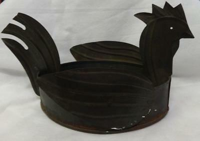 Antique Hand Made Folky Tin Rooster Garden Planter
