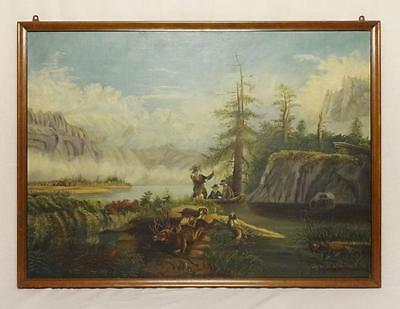 Antique Oil on Canvas Painting of Hunt Scene Late 19th Century Nice
