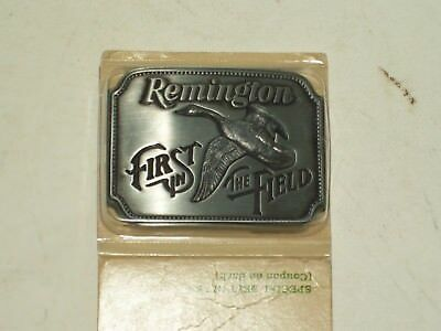 """1980 Remington  ~ """"First In The Field"""" ~ Belt Buckle ~  Mint Sealed In Package !"""