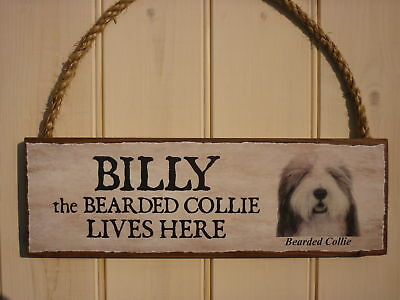 Solid Wood Bespoke Outdoor Dog Sign - Bearded Collie