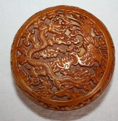 Cinnabar Hand Carved White Lacquer Jewelry Jar Box Rare Old