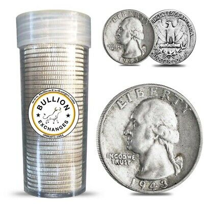 $10 Face Value Washington Quarters 90% Silver 40-Coin Roll (Circulated)