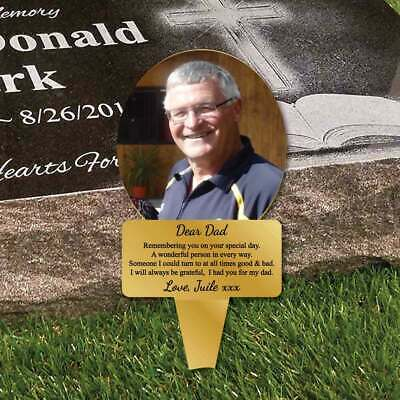 Outdoor Photo Dad Birthday Memorial Plaque Grave Sign, Grave Marker Plaque