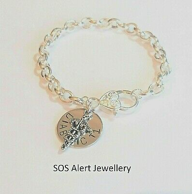 REDUCED TO CLEAR Strong Emergency Medical Alert ID Warning 22cm Charm Bracelet