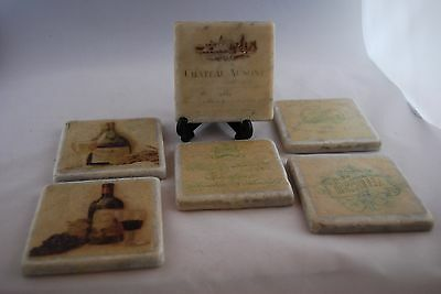 Shabby Chic Rustic Ceramic Wine Coasters Cork Backed x 12..Bar /rest supplies