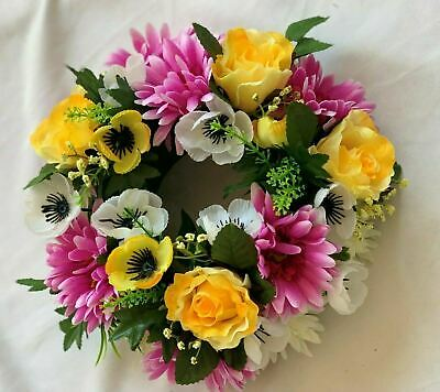 Artificial Silk Funeral Flower Wreath Ring Open Spring Arrangement Memorial