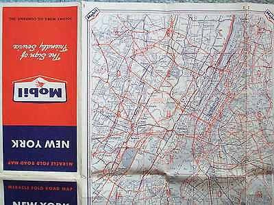1958 New York Mobile Miracle Fold Road Map Socony Mobil Oil Company, Inc.