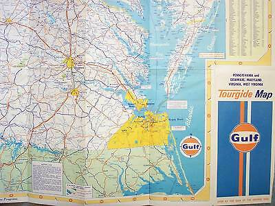 1975 Pennsylvania Deleware Maryland Virginia West Virginia Gulf Tourgide Map