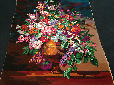 Vintage Hand Embroidered Tapestry Picture ~ Royal Paris Stunning Floral Bouquet