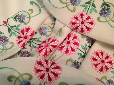 Vintage Hand Embroidered Linen Tablecloth ~ Beautiful Jacobean Style Flowers