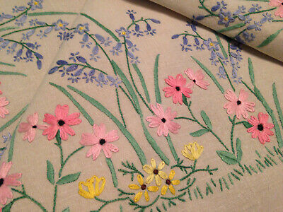 Vintage Fairistytch Hand Embroidered Tablecloth ~ Exquisite Bluebells & Flowers