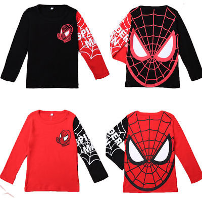 Toddler Kid's Boys Spiderman T-Shirt Long Sleeve Tops Pullover Tee Shirts 1-7T