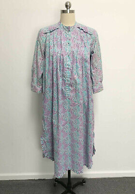 Vtg Bete' Collection Hawaiian Muumuu Dress Floral Ruffles Metal Ball Button 8/10
