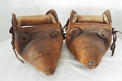 Antique Mexican Handmade Leather & Wood Stirrups Late 1800's /Early 1900's