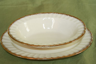 """The Edwin M. Knowles China Co. Usa """"Kno948"""" Pattern Vegetable Bowl & Platter"""