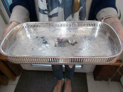 Vintage Silver Plated Gallery Decanter Or Champagne Tray On Stud Feet