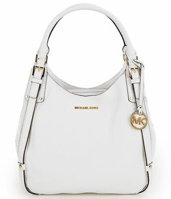 cc3f5e13cc20 NWT Michael Kors Bedford White Leather Belted Large Shoulder Bag Tote $398  New