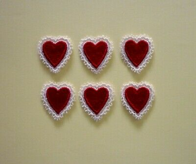 6 Red Embroidered And Lace Heart Appliques - EB2
