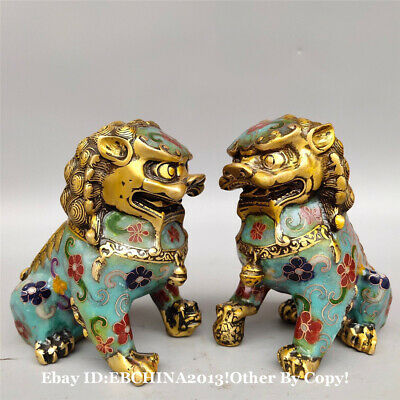 "4.6"" Collect Old China Bronze Cloisonne Enamel Animal Lion Statue Pair Sculpture"