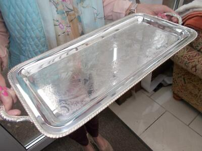 Pretty Long Silver Plated Serving Decanter Champagne Tray In Lovely Condition