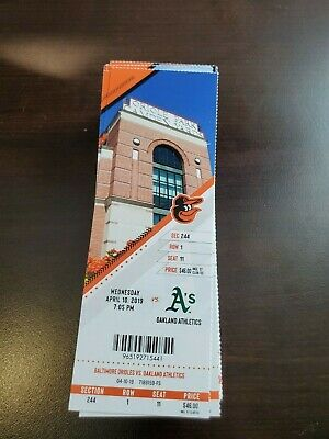 Baltimore Orioles Athletics MINT Season Ticket 4/10/19 2019 MLB Stub