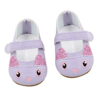 Purple Kitten Doll Shoes Fits 18 Inch American Girl Doll Clothes