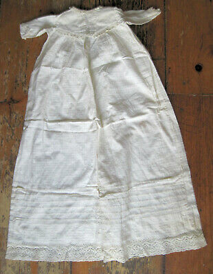 Antique cotton baby Christening Gown with crochet lace