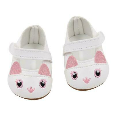 White Kitten Doll Shoes Fits 18 Inch American Girl Doll Clothes