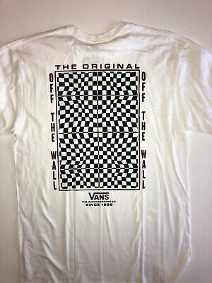 VANS New Warped Check Short Sleeve White T-Shirt Size Men's Medium