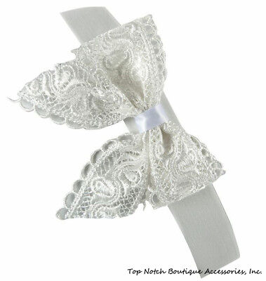 Ivory Lace Bow Nylon Headband Newborn Infant Baby Cream Beige Baptism Hair Band