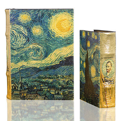 Starry Night by Vincent Van Gogh Art Book Box Set Leather & Wood Secret Storage