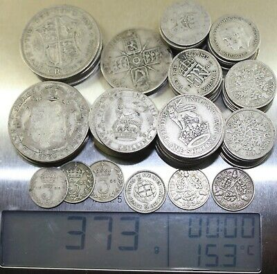 British 1920-1942 83 Assorted Silver Coins 6 Troy OZ 373 gms English 2/6 to 3d