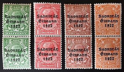 Ireland 1922 HARRISON COIL SET of 4 in Mint VERTICAL PAIRS, 3 with COIL JOINS