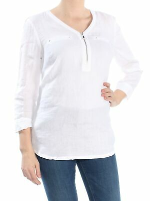 84a009346e2 JM COLLECTION $54 Womens New 1224 White Zipper Front 3/4 Sleeve Tunic Top M