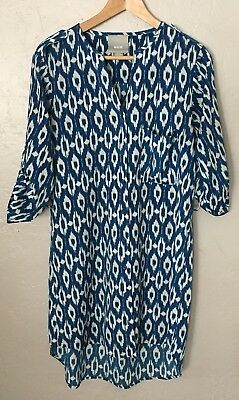659a623733462 Maeve Anthropologie Women's white blue 3/4 Sleeve Shift Dress Size S Small
