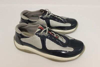03448a4dcea Prada Americas Cup 3163 Womens Navy Blue Patent Leather Sneakers Sz 36.6 Us  6.5