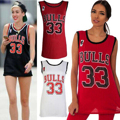 64426d860a8 Ladies Womens Bulls 33 Varsity American Basketball Jersey Vest T-Shirt Top  New