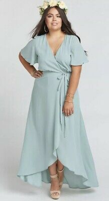 a265fb4979e Show Me Your MuMu SZ M Sophia Wrap Dress Silver Sage Crisp Bridesmaid