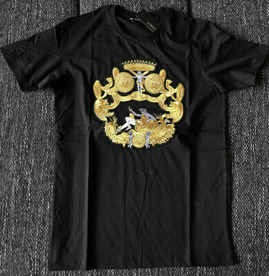 7915d1ff2 Brand New Versace T-Shirt Embrodied Angel Black Jersey Medusa Men's Cotton  Italy